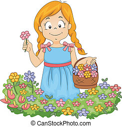 Little Kid Girl Picking Flowers in Garden - Illustration of...
