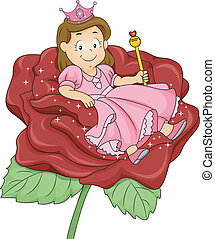 Little Kid Girl Princess Sitting on Flower - Illustration of...