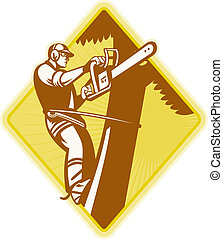 lumberjack arborist tree surgeon - Illustration of...