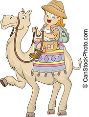 Little Kid Girl Riding a Camel - Illustration of a Little...