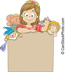 Little Kid Girl in a Toy Box - Illustration of a Little Kid...