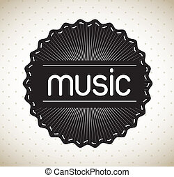 music label over dotted background vector illustration