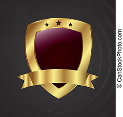 shield golden - shield design over black background vector...