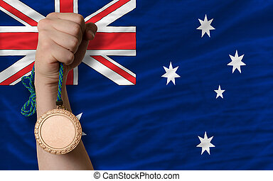 Bronze medal for sport and national flag of australia -...