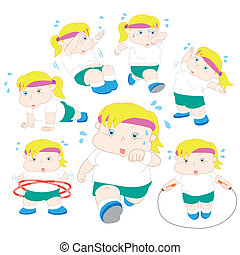illustration of overweight girl fitness collection.