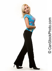 Attractive blond woman - Full body of an attractive blond...