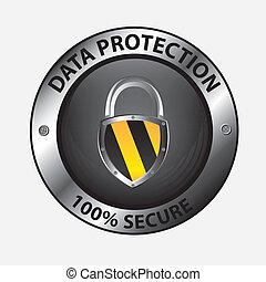data protection design over white background vector...