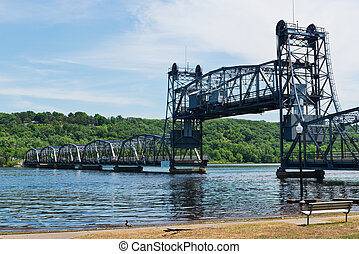 Lift bridge over the St Croix River, Stillwater, Minnesota