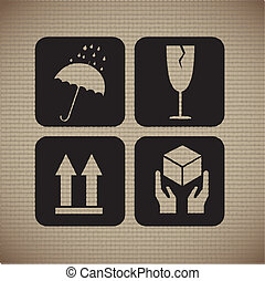 Cardboard icons over lineal background vector illustration