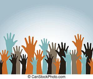 hands up over blue background vector illustration