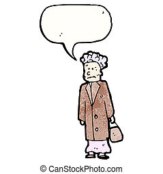 cartoon old woman with speech bubble