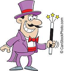 Cartoon magician - Cartoon illustration of a magician...