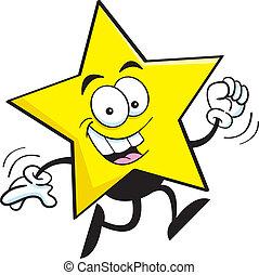 Cartoon star running - Cartoon illustration of a star...