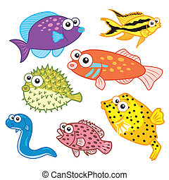 cartoon sea animals set with white background.