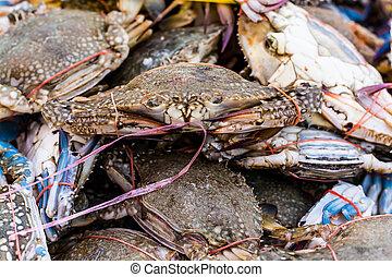 raw Crab tied.