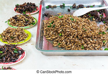 Fried insects are regional  Thailand...