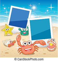 fish frame - Decorative frame for photo with tropical bright...