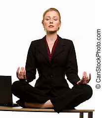 Relaxing at work - Attractive blond hair woman wearing...