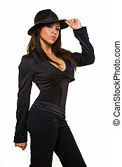 Gangster attire - Attractive long hair brunette woman...