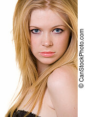 Young blond hair woman - Attractive close up of face of a...