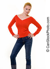 Red sweater - Beautiful woman with blond hair tied back in a...