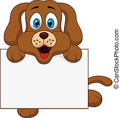 Cute dog cartoon with blank sign - vector illustration of...