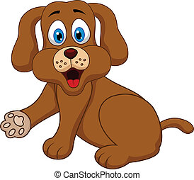 lindo, perro, caricatura