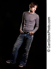 Male casual fashion - Full body of a handsome young brunette...