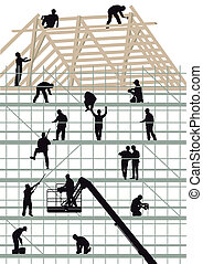 Construction workers building