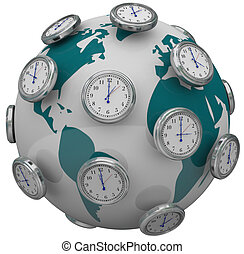 International Time Zones Clocks Around World Global Travel -...