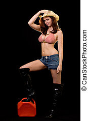 Cowgirl out of gas - Full body of a beautiful brown hair...