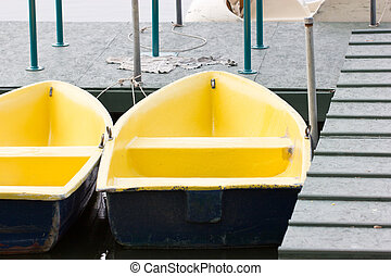 Rowboats on Lake.