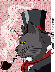 Mister Cat - Vector illustration of a cat in top hat and...