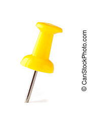 Yellow pushpin isolated on a white background