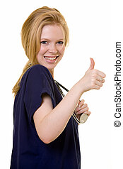 Nurse thumbs up - Young pretty woman healthcare worker...