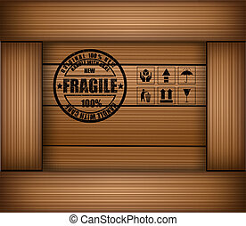 Safety fragile sticker icon on texture wooden box