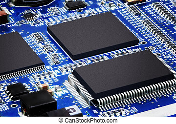 Close-up of electronic circuit board Macro - Close-up of...