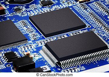 primer plano, electrónico, circuito, tabla, macro