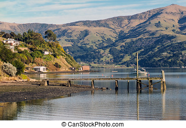 Akaroa Harbour Scenes - Robinson's Bay and Pier - Scenes or...