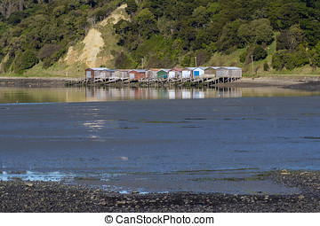 Akaroa Harbour Scenes - the boatsheds at Duvauchelle -...