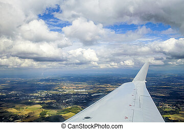 jet plane wing  - View of jet plane wing
