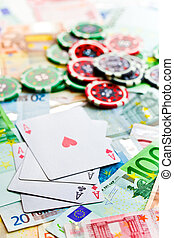 gambling concept. poker cards, chips and banknotes