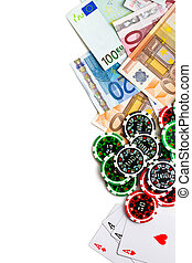 gambling concept poker cards, chips and banknotes