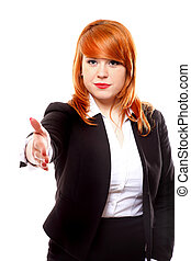 Business woman ready to handshake isolated - Redhaired...