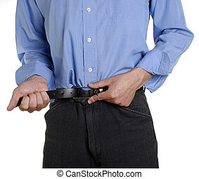 Frugal times - Conceptual shot of business man tightening...