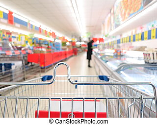 view of a shopping cart at supermarket - view of a shopping...