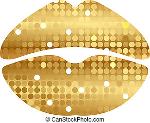 gold shiny lips - Vector illustration of gold shiny lips