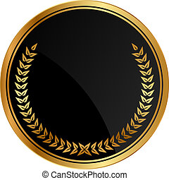 medal with gold laurels - Vector black medal with gold...