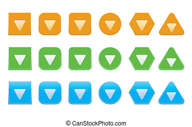 set of down arrow icons of different shape