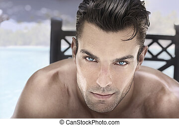 Hot guy - Closeup portrait of a beautiful male model with...